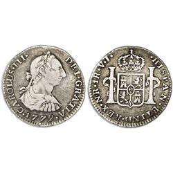 Bogota, Colombia, bust 1 real, Charles III, 1772VJ, dot between V and J, re-punched date, rare.