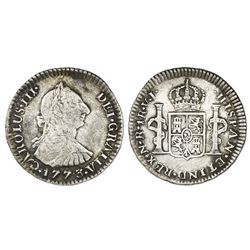Bogota, Colombia, bust 1 real, Charles III, 1773VJ, dot between V and J.