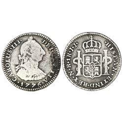 Bogota, Colombia, bust 1 real, Charles III, 1776JJ, dot between J's, rare.