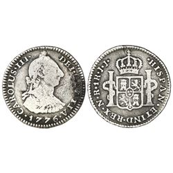Bogota, Colombia, bust 1 real, Charles III, 1776JJ, dot between J's, rare.