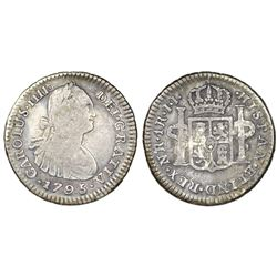 Bogota, Colombia, bust 1 real, Charles IV, 1795JJ, no dot between N and R, dot between J's.