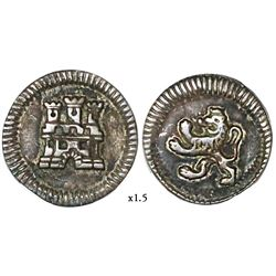Bogota, Colombia, 1/4 real, anepigraphic issue, Ferdinand VI or Charles III, no date or mintmark or