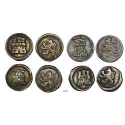 Lot of four Bogota, Colombia, 1/4R, anepigraphic issue, Charles III or IV, no dates or mintmarks or