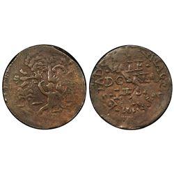 Cartagena, Colombia, copper 2 reales (provisional), 1814, retrograde 4, PCGS VF30 BN, ex-Eldorado.