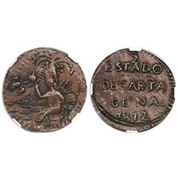 Cartagena, Colombia, copper 1/2 real, 1812, NGC AU 55 BN.