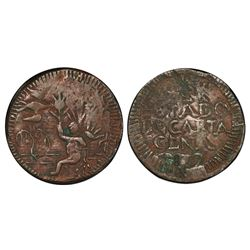 Cartagena, Colombia, copper 1/2 real, 1812, PCGS XF40 BN.
