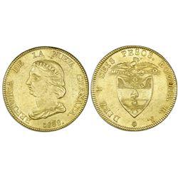Bogota, Colombia, gold 16 pesos, 1838RS.