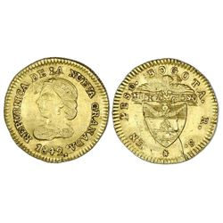 Bogota, Colombia, gold 1 peso, 1842RS.