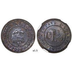 Colombia (struck at the Heaton mint), copper pattern 1-1/4 centavos, 1874, NGC MS 64 BN, finest and