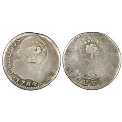 Costa Rica, 2 reales, Type III counterstamp (1845) on a mainland Spanish bust 2R of Charles III date