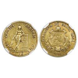 Costa Rica, gold 1/2 escudo, 1855JB, NGC AU 55.