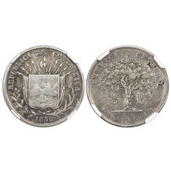 Costa Rica, 1/4 peso, 1850JB, NGC XF 40.