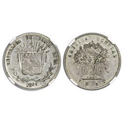 Costa Rica, 10 centavos, 1865GW, NGC AU 53.