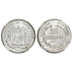 Costa Rica (struck in Birmingham), 25 centavos, 1893-HEATON BIRMM., NGC MS 64.
