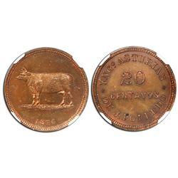 Cuevitas (Matanzas province), Cuba, copper 20 centavos token, dated 1876, J. Polledo, rare, NGC MS 6