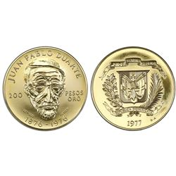 Dominican Republic, gold 200 pesos, 1977, centennial of Duarte's death.