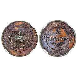 Dominican Republic, proof bronze essai 2 centavos, 1877-E, NGC PF 62 BN.