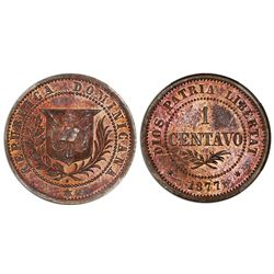 Dominican Republic, proof bronze essai 1 centavo, 1877-E, NGC PF 65 BN.