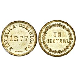 Dominican Republic, brass 1 centavo, 1877, NGC MS 65.