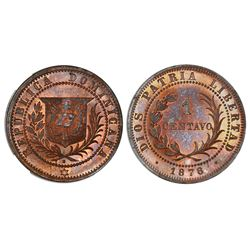 Dominican Republic, proof bronze essai 1 centavo, 1878-E, wreath type, NGC PF 65 RB.