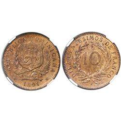 Dominican Republic (struck at the Paris mint), bronze 10 centesimos, 1891-A, NGC MS 64 RB.