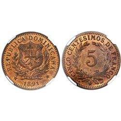 Dominican Republic (struck at the Paris mint), bronze 5 centesimos, 1891-A, NGC MS 64 RB.