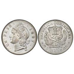 Dominican Republic, 1 peso, 1897-A, NGC AU 55, ex-Rudman.