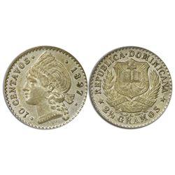 Dominican Republic, 10 centavos, 1897-A, PCGS MS63, ex-Rudman.