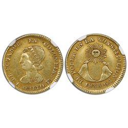 Quito, Ecuador, gold 1 escudo, 1833GJ, NGC XF 45.