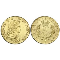 France (Paris mint), gold double louis d'or, Louis XV, 1723-A, ex-Chameau (1725).