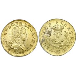 France (La Rochelle mint), gold louis d'or, Louis XV, 1724-H, ex-Chameau (1725).