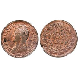 France (Metz mint), copper 1 decime, L'An 8-AA (1799-1800), NGC MS 62 RB, finest and only specimen i