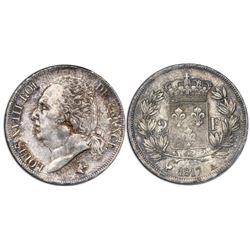 France (Paris mint), 2 francs, Louis XVIII, 1817-A.