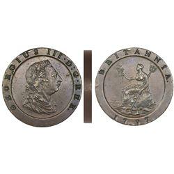 "Great Britain (London, England), copper ""cartwheel"" twopence, George III, 1797."