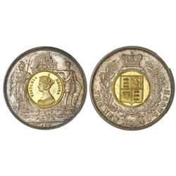 """Great Britain, """"new model crown"""" token in silvered and gilt copper, Victoria (young head), (1848), N"""