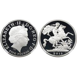 Great Britain, proof 5 pounds, 2013, Pistrucci's design of St. George and the Dragon, NGC PF 70 Ultr