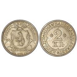 Greenland (struck in Copenhagen), 2 kroner token, Ivigtut Cyrolite Mining and Trading Company, 1922-