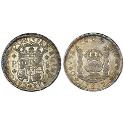 Guatemala, pillar 8 reales, Charles III, 1769P, large diameter, finest known.