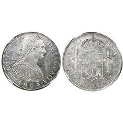 Guatemala, bust 8 reales, Charles IV, 1804M, NGC MS 61.