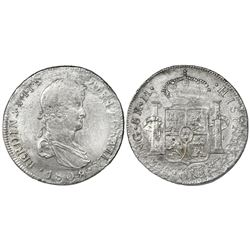 Guatemala, bust 8 reales, Ferdinand VII, 1808M, very rare.