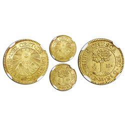 Guatemala (Central American Republic), gold 1/2 escudo, 1824M, NGC MS 63.