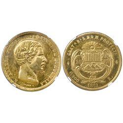 Guatemala, gold 20 pesos, 1869R, Carrera, MS 62.