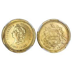 Guatemala, gold 5 pesos, 1877F, NGC MS 63.