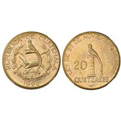 Guatemala (struck at the Philadelphia mint), gold 20 quetzales, 1926, NGC MS 61.