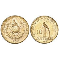 Guatemala (struck at the Philadelphia mint), gold 10 quetzales, 1926, NGC MS 61.