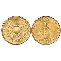 Guatemala (struck at the Philadelphia mint), gold 5 quetzales, 1926, NGC MS 61.