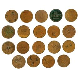 Study group of nineteen Guatemala copper 1c, 1871 and 1881, with different countermarks to convert t
