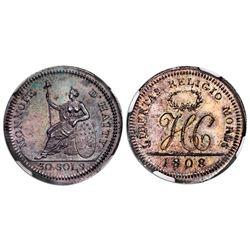 Haiti (struck in Birmingham), silver pattern 30 sols, 1808, NGC MS 64.