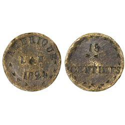 Haiti, brass die trial (?) 15 centimes, 1824, very rare.