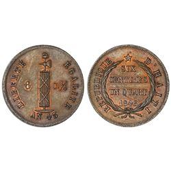 Haiti (struck at the Paris mint), specimen bronze 6-1/4 centimes, 1846, unique.